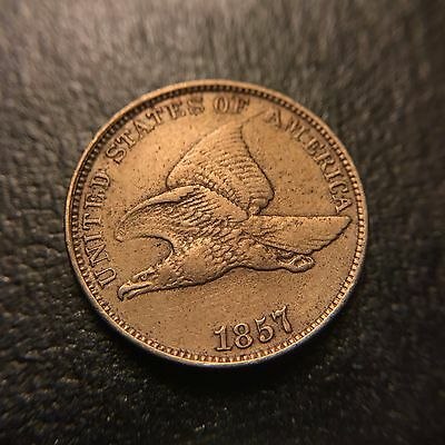 1857 Flying Eagle Cent Choice AU About Uncirculated Large Letters