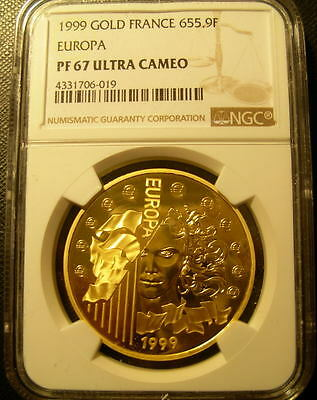 France 1999 Gold 1 oz 655.9 Francs NGC PF-67UC Europa Mintage - 2000