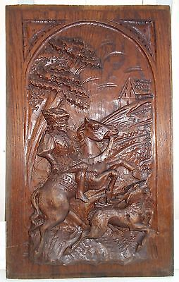 Hand carved wooden panel, Medieval Horseman Hunting Deer. Antique French