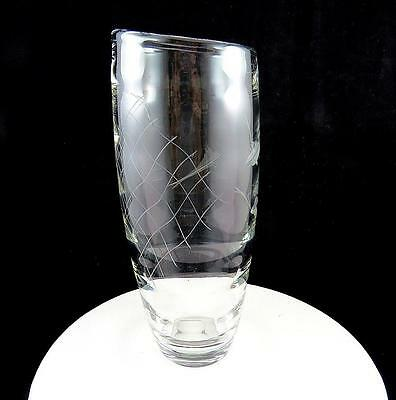 "Scandinavian Heavy Crystal Optic Glass Fish & Fishnet Etched 10 1/4"" Slant Vase"