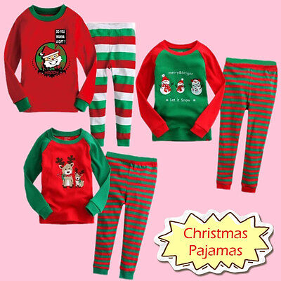 Christmas Kids Toddler Boy Girl Santa Sleepwear Nightwear Pajamas Pyjamas Set