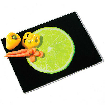 Pro Black Glass Lime Green Chopping Board Vegetable Fruit Food Chopping Board