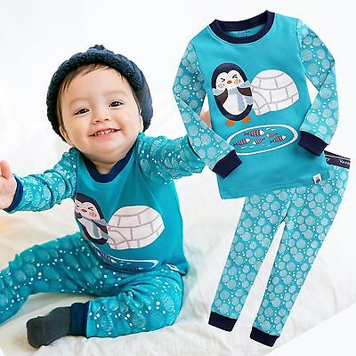 "Vaenait Baby Toddler Kid Boy Clothes Sleepwear Pajama Set ""Egloo Penguin"" 12M-7T"