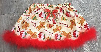 Handmade Girls Christmas Skirt 1-2 Year Baby Toddler Gingerbread Man Glitter Bow