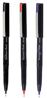 Pentel Fountain Pens Black Blue Red Ink Pen Disposable Variable Line Width