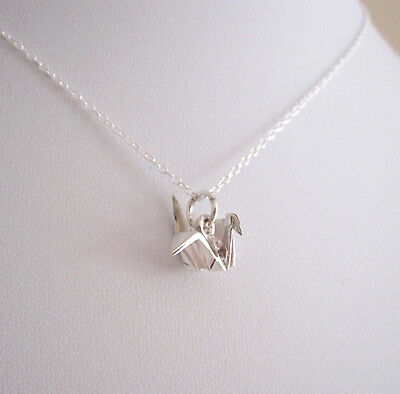 925 Sterling Silver 3D ORIGAMI CRANE BIRD charm with chain necklace
