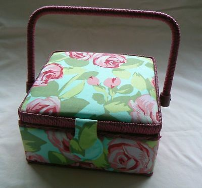 Sewing Box Basket Covered in Pink & Green Fabric LABEL DEFACED