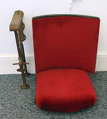 Single Vintage 1930's Art Deco Cinema Theatre Seat Red Velvet Fold up and Down