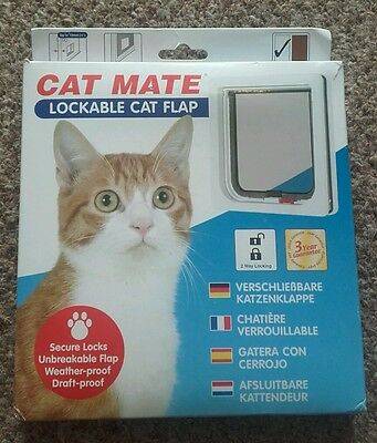 New Cat Mate 2 way Locking Cat Flap White Catflap Pet Door 304W