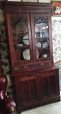 Victorian Bureau Bookcase Flame Mahogany Fine Example Delivery Available