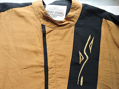 Men's Button Down Shirt- Black & Yellow- Unique - Size Large