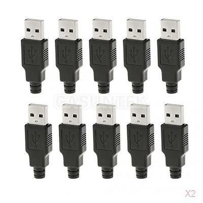 10Pcs USB Type-A Plug 4-pin Male Adapter Connector with Plastic Cover