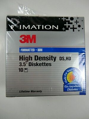 "Imation 3M IBM Formatted High Density DS, HD 3.5"" Diskettes Box of 10 NEW Sealed"