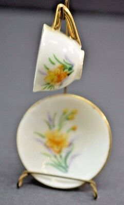 Vintage Enesco March Miniature Cup Saucer Set Stand