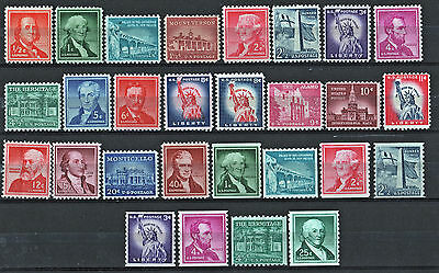 Stamps of the Liberty Series: 28 Different (1954-68) MNH
