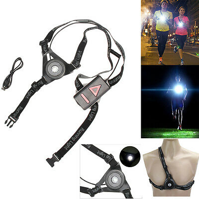 USB Rechargeable Outdoor LED Chest Light Night Running Hiking Warning Safe Light