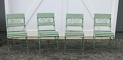 Four French Style Garden Chairs Iron and Wood Early 20th C