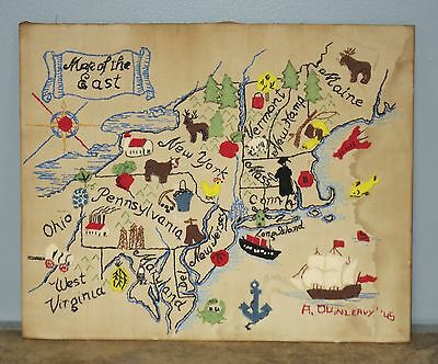 Vintage 1945 Embroidered Map of the East Signed Folk Art