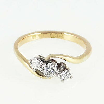 18ct Gold Three Stone Diamond Ring Circa 1940