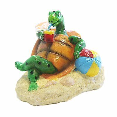 Aquarium Ornament Chilling Out Turtle With Beach Ball