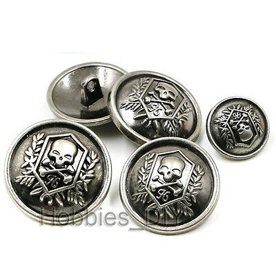 10pcs Silver Round Skull Crossbones Metal Sewing Shank Buttons Craft Coat DIY