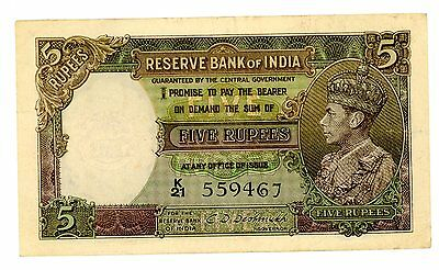 India … P-18b … 5 Rupees … ND(1943) … *XF*