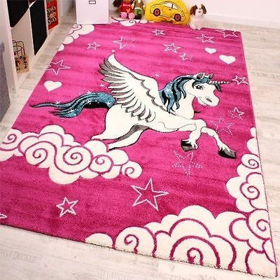 Kids Rug Small Large Childrens Carpets Pink Bedroom Playroom Soft Rugs Play Mats
