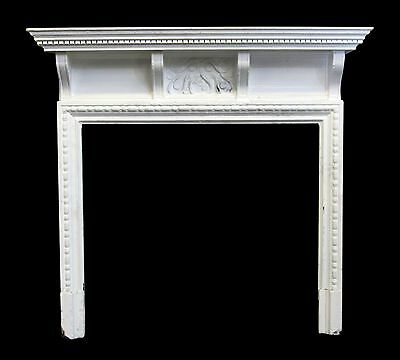 Small Art Nouvaeu Carved White Wood Mantel