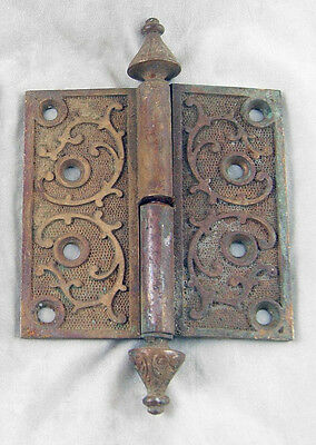 Ornate Bronze Door Hinge With Steeple Tips