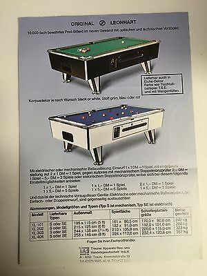 Billard Flyer Prospekt ; Original Leonhart Pool Billard A4