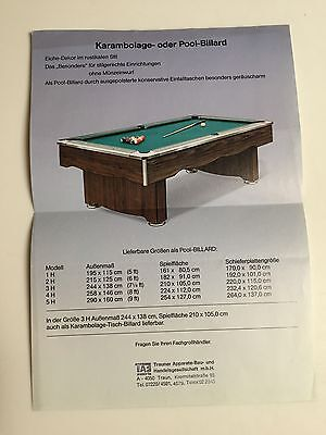 Pool Billard Flyer Prospekt ; Karambolage Pool Billard alter A4 Flyer Original