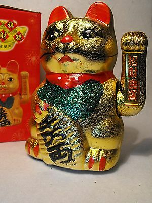 Waving Cat Meneki Neko Japanese Beckoning Cat  Ceramic Not Plastic Fast Uk Pp