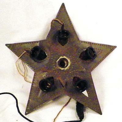 Antique Christmas Tree Topper Tin Star Electric Needs Rewiring
