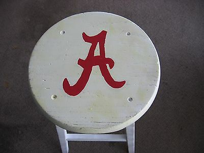 """HAND PAINTED UNIV OF ALA RED """"A"""" ON WHITE WOODEN STOOL 24""""x13""""x14"""""""