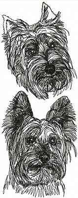 Silky Terrier Dog Breed Graphic Bathroom  HAND TOWEL SET EMBROIDERED