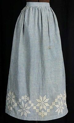 apron long half blue white plaid check reenactment old antique 19th c 1800