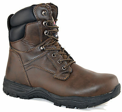 Mens Combat Military Leather Steel Safety Work Ankle Boots Lace Shoe Size UK 12