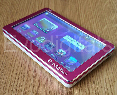 """New Evodigitals Pink 8Gb 4.3"""" Touch Screen Mp5 Mp4 Mp3 Player Video + Tv Out"""
