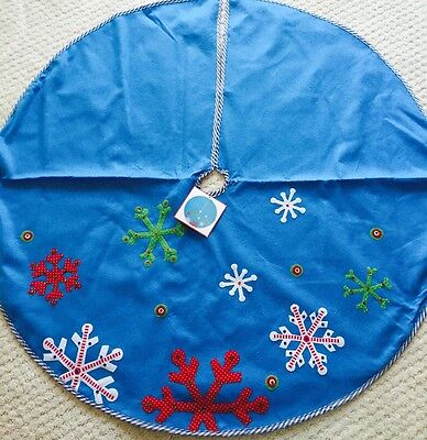 Christmas Tree Skirt 48 In Snowflakes Sequined Beaded Blue