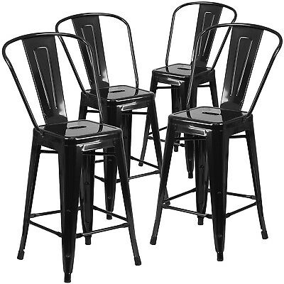 "4pc Set Industrial Vintage Style Bar Height Stool with Full Back 30""inch Black"