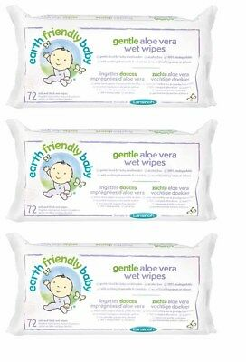 Earth Friendly Baby Organic & Natural Gentle Aloe Vera Wet Wipes 3x 72 Wipes
