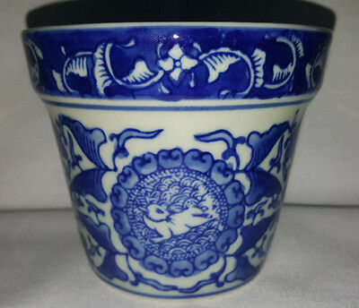 Chinese Blue and Ivory Planter Pot with Rabbit Design