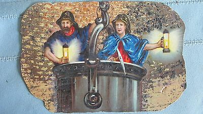 Color Lithograph European Miners In Ore Bucket-Mining Lamps-Embossed-Mining