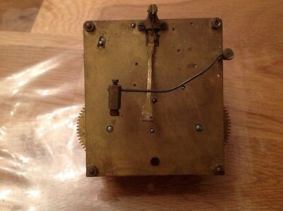 Antique Clock Movement Chiming Approx 10cm X 10cm. Untested For Restoration