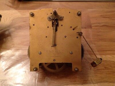 Antique Enfield Clock Movement With Hands 11 X 12cm. Untested For Restoration