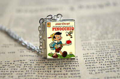 Pinocchio Opening Book Locket Charm Pendant Silver Necklace Miniature Novel