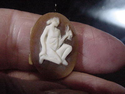 Beautiful Antique Hand Carved Shell Cameo Strange Man