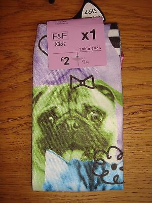 BNWT One Pair Ankle Socks Dogs & Cats Shoe Size 4-5.5