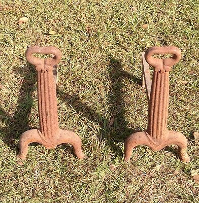 Antique Lodge #18 Andirons Fireplace Fire Dog Vintage Americana Folk Cast Iron