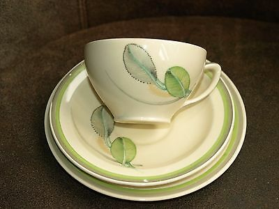 Susie Cooper Trio 1930's Bk leaf with banding Grey and light Green